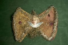 """Antique Victorian Die Cut Crepe Paper Wired Xmas Ornament Bow w Angel Face 5"""" 