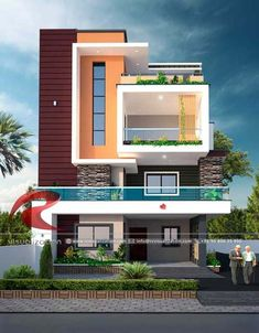 Visualization Structural Plan and Elevation Designing House Balcony Design, House Outer Design, Single Floor House Design, 3 Storey House Design, Unique House Design, Bungalow House Design, House Structure Design, Minimalist House Design, Wood Structure