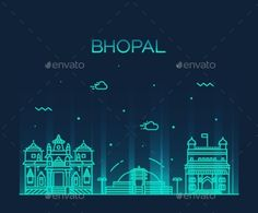Bhopal skyline detailed silhouette Trendy vector illustration linear style