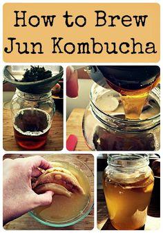 How to Brew Jun Kombucha Hello my fermenting friends! While most of you have heard of kombucha , I bet only some of you have heard of Jun. Jun Kombucha, How To Brew Kombucha, Kombucha Recipe, Making Kombucha, Kombucha Flavors, Probiotic Foods, Fermented Foods, Fermented Tea, Jun Recipe