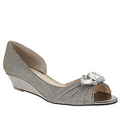 8ca36da121ca Nina Romina Jeweled Peep-Toe d´Orsay Wedge Pumps