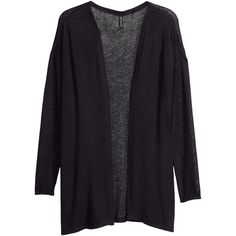 H&M Fine-knit cardigan (8.755 CLP) ❤ liked on Polyvore featuring tops, cardigans, jackets, outerwear, sweaters, black, loose tops, h&m cardigan, loose cardigan and h&m tops