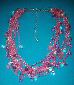Vintage twisted adj 10 string multi strand Pink beaded 18 Statement Necklace NR #Unbranded #Statement