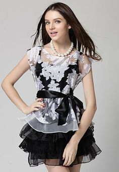 Image of [grzxy6601104]Belted Flower Print Dress Multiple Layers Bubble Tutu Skirt