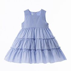 Sleeveless dress for girls in 100% cotton with stripes and checks by Crochette, $133.24