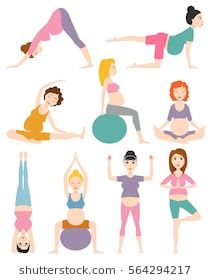 yoga pregnant women vector flat illustration stock vector