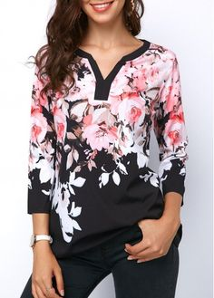Women's Sleeve Floral Top For Women Printed Three Quarter Sleeve Split Neck Blouse Trendy Tops For Women, Blouses For Women, Formal Blouses, Women's Blouses, Winter Blouses, White Short Sleeve Blouse, Printed Blouse, Half Sleeves, Blouse Designs