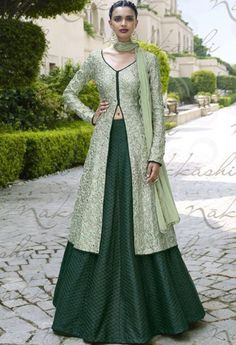 Green Bhagalpuri Designer Palazzo Salwar Kameez..@ fashionsbyindia.com #designs #indian #fashion #womens #style #cloths #fashion #stylish #casual #fashionsbyindia #punjabi #suits #wedding #salwar #kameez #chic #outfits