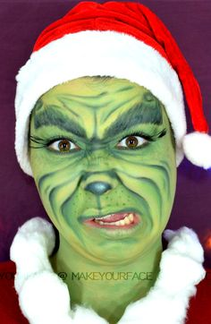 See The Grinch makeup tutorial http://youtu.be/nVBra9s0Ss4