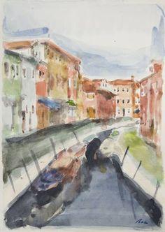 Original Landscape Painting by Dumitru Bostan Junior Watercolor Paintings, Original Paintings, Original Art, Watercolors, Venice Painting, Impressionism Art, Is 11, Buy Art, Saatchi Art