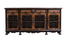 Avila Buffet hand forged, hand painted tuscan style, old world , rustic modern style by Casa Bonita Home Furnishings Tuscan Furniture, Modern Rustic Furniture, Modern Rustic Homes, Dream Furniture, Art Deco Furniture, Hand Painted Furniture, Handmade Furniture, Unique Furniture, Furniture Ideas