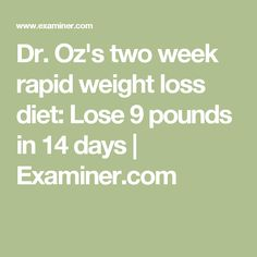 Dr Oz Diet Lose 27 Lbs Monthly
