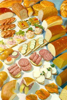 Vintage illustration of sandwich fillings - beautiful!