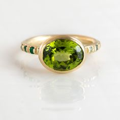 Green Peridot Oval Ring in 14k Yellow Gold by Melanie Casey Jewelry