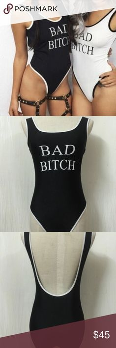 Bad Bitch Bodysuit Black only. NWT, pull on. Stretchy thin spandex like material. Price firm. Tops Tank Tops