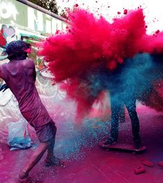 The Ancient Indian festival of Holi. Basically what America calls a 'color run'.