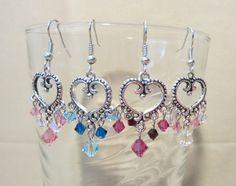 Swarovski Crystal & Silver Open Bead Edge Heart by Pizzelwaddels, $19.97