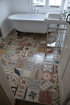 Reclaimed Encaustic Floor Tiles by The Reclaimed Tile Company Patchwork Kitchen, Patchwork Tiles, Encaustic Tile, Antique Tiles, Bathroom Flooring, Basement Bathroom, Tile Flooring, Remodel Bathroom, Flooring Ideas