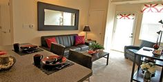 Enjoy your own apartment and watch TV on your own leather couch in our FULLY FURNISHED apartments! | The Pavilion on Berry Saint Paul, Minnesota