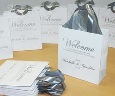 30 Wedding Favor Bags for guests Silver with satin ribbon