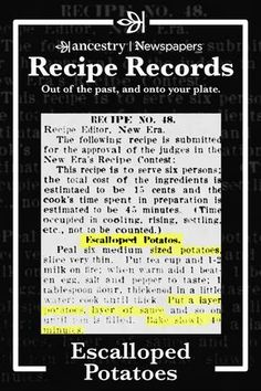 Ancestry's Recipe Records are a wonderful way to try out historical dishes and see what sticks—but never to the pan. Head over to the Ancestry® blog to read more about this delicious dish—complete with ingredient lists—and other recipes from Ancestry's Newspapers.com. Old Recipes, Vintage Recipes, Other Recipes, Side Dish Recipes, Potato Recipes, Vegetable Recipes, Cooking Recipes, Retro Recipes, Yummy Recipes