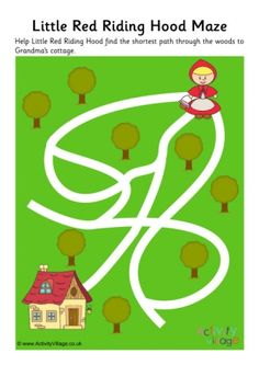 Little Red Riding Hood needs to find the shortest path through the woods to Grandma's cottage so she can get there as quickly as possible. Can the children help her through the maze? Logic Games For Kids, Educational Games For Kids, Train Activities, Preschool Activities, Little Red Hood, Mazes For Kids, Psychedelic Drawings, Fairy Tales For Kids, Principles Of Art