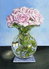 <strong>Roses in a glass vase</strong>