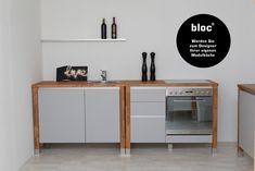 Modulküchen bloc  Küchenmodule Arbeitsplatte  Buche Massiv Küche Singleküche