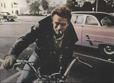 JAMES DEAN on MOTORCYCLE 9 1/2 x 11 3/4 Colorized black and white photo postcard. $6.99, via Etsy.
