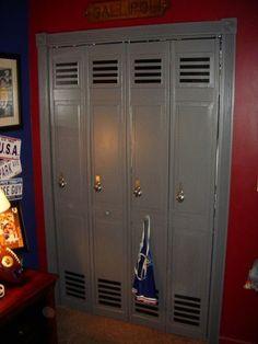 Bifold doors turned into lockers for sports room (great idea for boys closet doors) Boys Football Room, Football Bedroom, Football Soccer, Boys Basketball Bedroom, Boy Sports Bedroom, Soccer Room, Kids Sports Bedroom, Bedroom Themes, Teen Bedroom