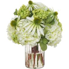 Diane James Daisy, Hydrangea & Snowball Bouquet in Glass Jar ($385) ❤ liked on Polyvore featuring home, home decor, floral decor, flowers, silk flower arrangement, daisy bouquet, flowers hydrangeas bouquets, daisy artificial flowers and hydrangea silk flowers