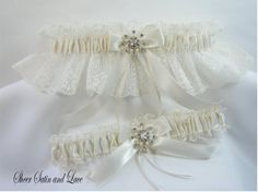 WINTER SNOWFLAKE Wedding Garters Ivory Lace by SheerSatinandLace, $29.99