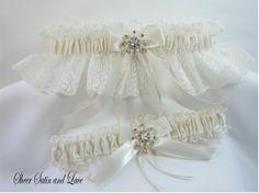 WINTER SNOWFLAKE Wedding Garters Ivory Lace by SheerSatinandLace, $29.99