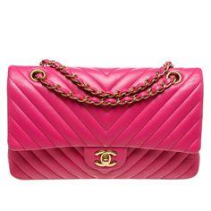 Chanel Pink Chevron Leather Medium Classic Handbag