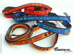 Samoa & Bellatrix personalized dog's leash and collar - www.facebook.com/SweetDogStore
