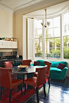 Dining nook   Huge bay windows   Jewelry designer Solange Azagury-Partridge's London home.