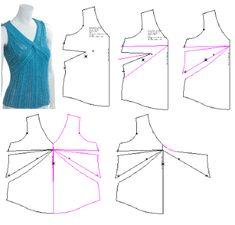 Stitches and Seams: First Draft — Twist Tunic Sewing Patterns, Clothing Patterns, Dress Patterns, Sari Blouse Designs, Blouse Styles, Diy Blouse, Diy Clothes And Shoes, Sewing Clothes, Techniques Couture