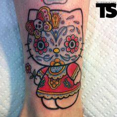 DIA De Los Muertos Tattoos | Hello Kitty | Arte Tattoo - Fotos e Ideias para Tatuagens - Part 4