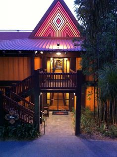 Niue Longhouse in the Evening at Disney's Polynesian Resort from Review of the Polynesian