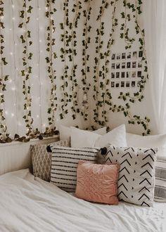 I redid my bed area and I am in love whaaaat Cute Bedroom Decor, Bedroom Decor For Teen Girls, Room Design Bedroom, Stylish Bedroom, Teen Room Decor, Room Ideas Bedroom, Men Bedroom, Bedroom Inspo, Dream Bedroom