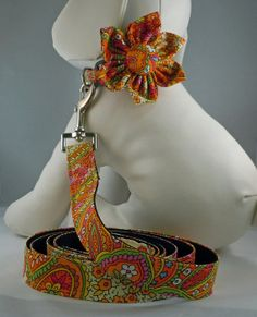 Dog Collar with Flower or Bow Tie and Leash  by LearnedStitchworks, $32.00
