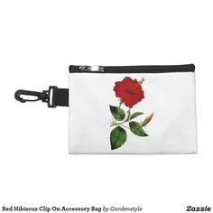Red Hibiscus Clip On Accessory Bag