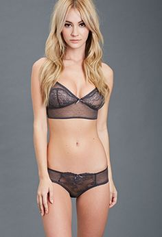 Lace-Paneled Mesh Bikini   ~Charcoal. I really like this color. Its different and sophisticated, reminiscent, to me, of something a business man would wear thus rendering it all the more sexy. Very Christian Grey.