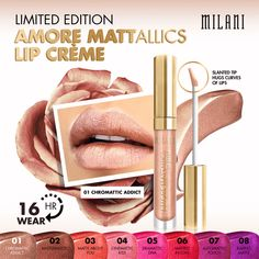 Add a pop of bold, metallic color to your lips with our Limited Edition Amore Mattallics Lip Crème. milani.my/amoremattallics