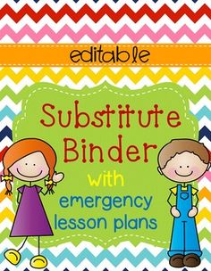 Your substitute teacher will thank you for your organization and preparation! Everything you will need for a day out of work. This packet even includes lesson plans!!!This packet is 100% editable - all of the headings and text are editable. I've already typed in TONS of suggestions for you, but the great thing is that if you don't like something, you can change it!