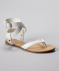 Take a look at this White Caitlyn-03 Sandal by Bamboo on #zulily today!
