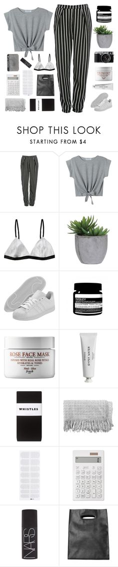 """""""CUZ I NEED YOU TO JUMP ON THIS GRENADE FOR ME"""" by expresng ❤ liked on Polyvore featuring Glamorous, WithChic, Lux-Art Silks, adidas, Aesop, Whistles, canvas, Muji, NARS Cosmetics and Monki"""