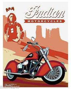 Canvas Vintage Motorcycle Poster Indian Motorcycles Arizona Desert