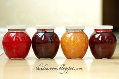Freezer Jam    Here is what you need:  4 Lbs fresh berries or fruit, 1.5 cup of sugar (amount will vary according to fruit & pectin used. there are some pectin that can be used to make low-sugar versions of jam.  pectin,1Pkg ball freezer jam  lemon juice