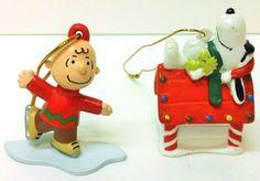 4.95 Charlie Brown Snoopy Ornaments Plastic Skating Dog House Peanuts Christmas Xmas